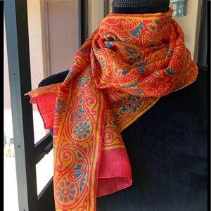 "Scarf-silk orange/turquoise paisley 70"" long"